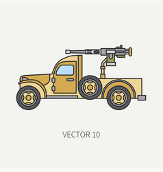 Line flat color icon armed open body army vector