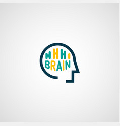 Linear abstract brain logo template computer vector