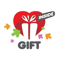 Logo gift box and heart vector