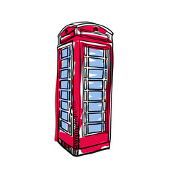 London red phone booth hand drawn isolated icon vector