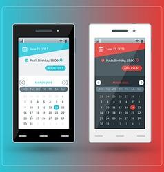 Modern smartphone with calendar app on the screen vector