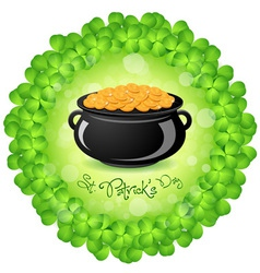 Patricks Day Cauldron with Gold Coins vector image vector image