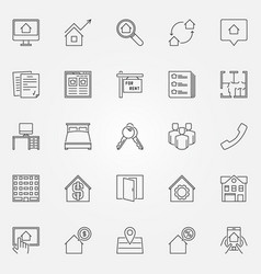 rent icons set vector image vector image