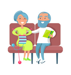 Senior lady knitting and gentleman reading on sofa vector