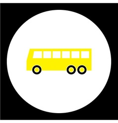 Simple yellow bus public transpor icon eps10 vector