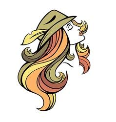Stylized portrait of cartoon pretty fashion girl vector