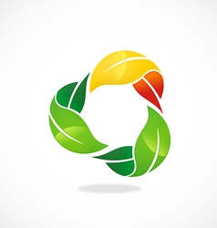 three leaf circle color logo vector image vector image