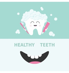 Tooth holding toothpaste and toothbrush Bubbles vector image
