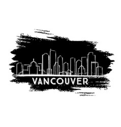 Vancouver skyline silhouette hand drawn sketch vector