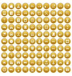 100 auto icons set gold vector