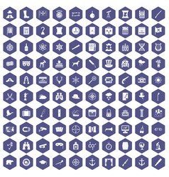 100 binoculars icons hexagon purple vector
