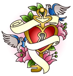 Floral heart with bird tattoo vector