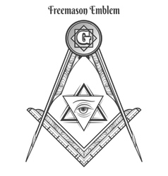 Freemason square and compass symbols vector