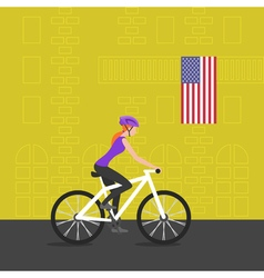 cyclist girl on bike that rides through the city vector image