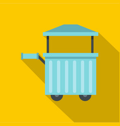 Blue trolley with awning icon flat style vector