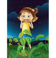 A scared young girl at the forest vector