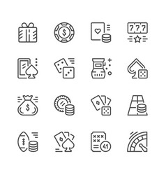 Set line icons of gambling vector