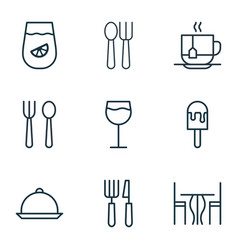 Set of 9 meal icons includes hot drink lemonade vector