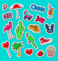 Teenager fashion lifestyle stickers badges vector