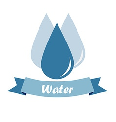 Three drops of water and a blue ribbon with text o vector