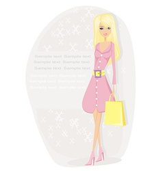Pretty girl in coat on shopping card vector