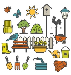 Rural landscape with gardening concept vector