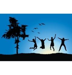 Four friends jumping on field near tree blue sky vector