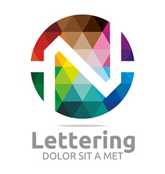 Logo abstract lettering n rainbow alphabet icon vector