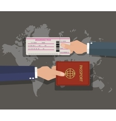 Passport with boarding pass on world map vector