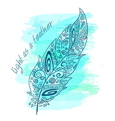 Printable with zentangle feather on watercolor vector