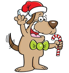 Cartoon dog holding a candy cane vector