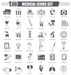 Medical black icon set dark grey classic vector