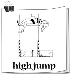 Woman doing high jump vector