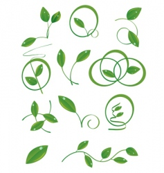 a set of green leaves vector image vector image