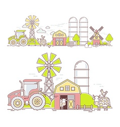 Agribusiness of colorful farm life with nat vector image vector image