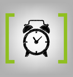 Alarm clock sign black scribble icon in vector