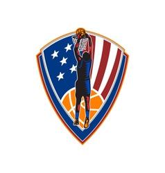 American basketball player dunk ball shield retro vector