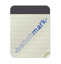 benchmark lettering on notebook template vector image vector image