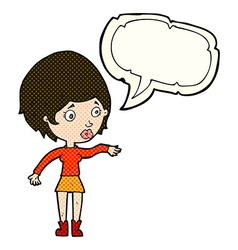 Cartoon concerned woman reaching out with speech vector