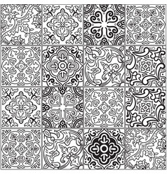 Ceramic tile with outline patchwork in spanish vector
