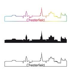 Chesterfield skyline linear style with rainbow vector