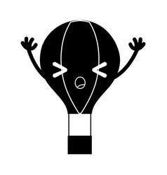 Contour angry air balloon kawaii with arms vector