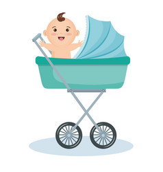 Cute baby in stroller vector