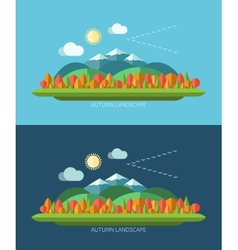 Flat design autumn nature landscape vector image vector image