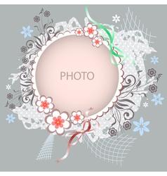 Floral frame on grey background vector
