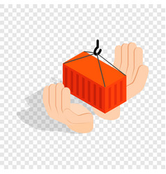 Hands holding container isometric icon vector