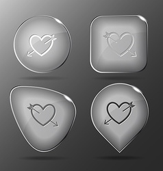 Heart and arrow Glass buttons vector image