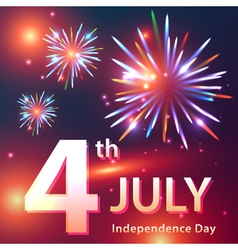 Independence Day card with fireworks vector image