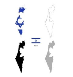 Israel country black silhouette and with flag on vector image vector image
