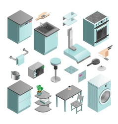 Kitchen interior isometric icons set vector